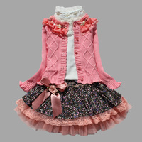 Child set female child spring and autumn  100% cotton sweater set dresses skirt children's clothing female child three piece