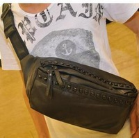 free shipping Trend men's waist pack personality rivet waist pack male casual small bag popular man bag