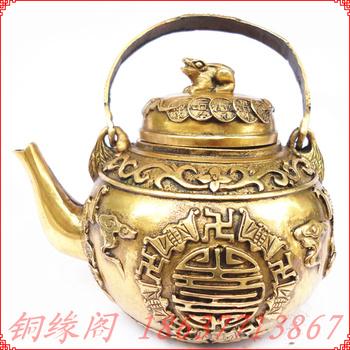 Bronze crafts copper hip flask teapot water bottle double pot home decoration
