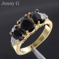 Jenny G Jewelry Size 7-9 Rock Three-stone Black Sapphire 10KT Yellow Gold Filled Cocktail Ring for Women Nice Gift