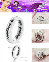 Free shipping.White ceramic Lord of the Rings. Personalized ring.JZ-130722-A