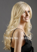 free shipping >>>Fashion Western Womens Long Natural Hair Wave Curly Full Blonde Fancy Dress Wigs