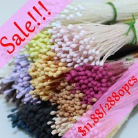 "Free shipping 1440pcs 3""length mini High simulation eco-friendly double tips strong stem matte diy Xmas flower stamen cake decor"