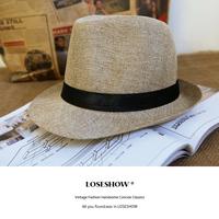 2013 summer male strawhat beach cap sunbonnet linen Women fedoras