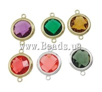Free shipping!!!Zinc Alloy Connector,Jewelry Blanks, with Resin, Flat Round, 1/1 loop, mixed colors, nickel