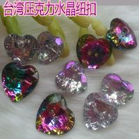 Button buttons acrylic crystal buckle diamond buckle heart button 12mm14mm16mm