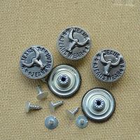Diy accessories jeans button jeans button vintage ancient silver metal buttons shaking his head buckle denim button