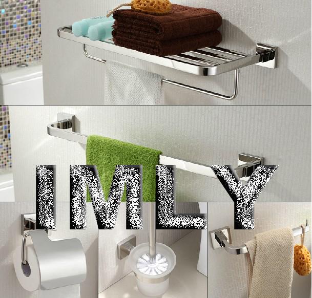 SUS 304 Stainless steel Bathroom Accessories 5pcs/set (towel rack,towel bar,paper holder,toilet brush holder,towel ring)(China (Mainland))
