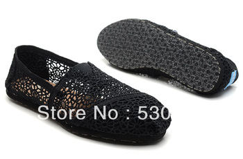 Black hollow out Free shipping Hot women's Classic comfortable Hollow out hook flower crochet shoe Flat casual canvas shoes