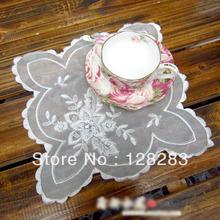 Free Shipping,Chinese traditional crafts,26cm White Decorative handmade beaded coasters Chiffon tablecloth,10 pcs/lot(China (Mainland))
