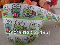 2013 new arrival  7/8'' (22mm)  frog printed grosgrain ribbon cartoon ribbon animals ribbon 10 yards