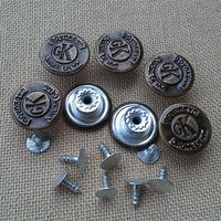 Button buttons antique brass metal buckle shook his head denim button jeans button 17mm
