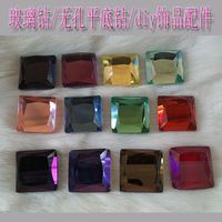 Diy accessories square glass crystal falt bottom rhinestone pasted 15mm