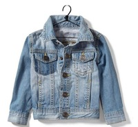 Baby girls boys turn down collar jeans coat jacket kids outwear children coat 8pcs/lot