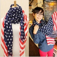Women's chiffon Scarves/ Popular USA Flag style scarf,1pcs,free shipping