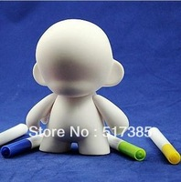 Kidrobot munny 4'' white mold doll  PVC dolls diy doodle model, action figures DIY toy, 5pcs/Lot Free Shipping