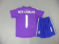 #1 IKER CASILLAS 2013/14 Real Madrid Goalkeeper Purple  youth soccer uniform.Real madrid Kids Soccer Uniform,size 16-28