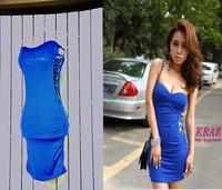 sidepiece ladies sexy fashion cutout slim hip slim tube top one-piece dress