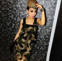 2013 women's military fashion sexy Camouflage spaghetti strap strapless chiffon one-piece dress