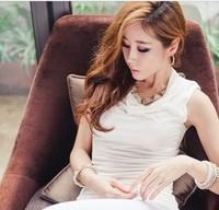 ladies slim fashion heap turtleneck sleeveless solid color all-match t-shirt