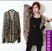 Women 2014 autumn sexy leopard print bordered wide sleeve medium-long thin trench caot casaco de trincheira femininas
