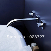 "Free shipping wholesale chromed dual handle wall mounted 8"" inch sink waterfall faucet"