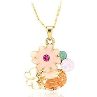 Free Shipping 2013 new gb8584 female Jewelry  champagne flower zircon  pendant Necklace made with SWA ELEMENTS crystal xgb8584