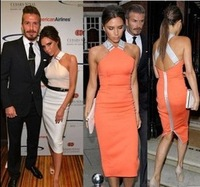 2014 new fashion casual knee-length mid-calf victoria beckham style orange white back cross sexy  Sleeveless dress Halter Neck