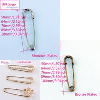 "Free Ship Wholesale 50--100mm/1.97--3.94"" Bronze/Rhodium Plated Metal  Brooch Back/Bar Pins DIY Women Brooch Accessories/ZXZ01"
