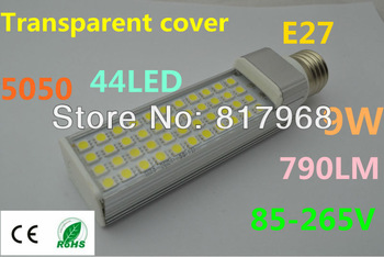 Transparent cover LED Bulb 220v 9W 5050 SMD 44 LED e27 Corn Light  Cool White/Warm White 85V-265V Side lighting certification