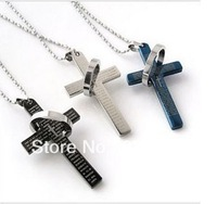 Designerstainless steel jewelry High Quality 2013,  Fashionable  Men Vintage  high quality prayer retro cross necklace ,KY095