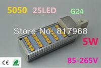 LED Bulb 220v 5W 5050 SMD 25 LED G24 Corn Light Lamp Cool White/Warm White