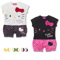 Retail 100% cotton 2013 new baby girls hello kitty rompers new born summer one-piece cute clothing
