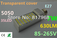 Transparent cover LED Bulb 220v 7W 5050 SMD 35 LED e27 Corn Light  Cool White/Warm White 85V-265V Side lighting certification