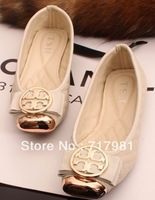 2013 new REVA BALLET LEATHER Metal square head bow comfortable shoes soft bottom flat shoes women shoes(1pairs)35-41
