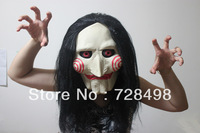 Saw Billy Jig Saw full head Latex halloween mask with hair tobin bell jigsaw new