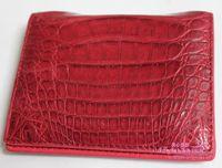 Free shipping Maroon crocodile skin two-fold short design wallet crocodile skin wallet male wallet female wallet