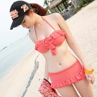 Bikini tube top swimwear bikini split double layer skirt style swimwear swimsuit hot springs