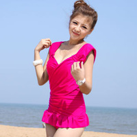 Swimwear one-piece dress double-shoulder style sexy small formal dress design Women hot spring swimwear