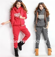 New Style !!Spring Autumn Korean Women Leisure Sports Hoodie Set & Three-piece Thickening of The Sweater (1pack=3pcs)