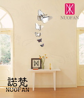 Free shipping Nf-087 diy home decoration mirror attached clock background wall mirror living room wall clock