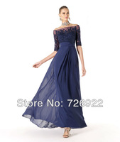 Sexy Custom Ankle-Length Off Shoulder Blue Lace Mother Of The Bride/Groom Dress 2013 Free Shipping Custom