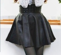 853 shes-story punk rivet PU bust skirt leather skirt
