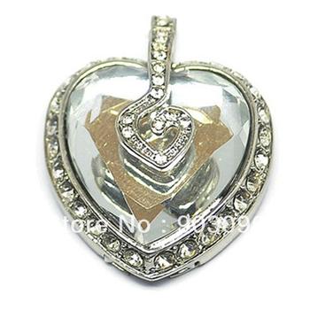 Wholesale White Crystal Heart Design 2GB 4GB 8GB 16GB 32GB USB 2.0 Flash Drive Stick Memory + Free Gift Necklace