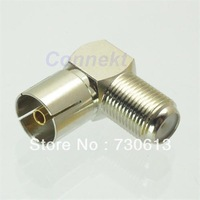 F female jack to IEC PAL DVB-T TV 9.5mm female right angle RF adapter connector
