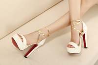 Free shipping wedges sandals 2013 summer women's high-heeled shoes thick heel cross straps sexy gladiator platform