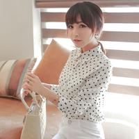 2014 spring new women blouses chiffon vintage white black polka dot shirts long-sleeve plus size ladies casual blouse wholesale
