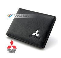 Genuine Leather License Bag For MITSUBISHI Lancer EX Outlander ASX Pajero wallet purse notecase Car Logo Gift Free HK post