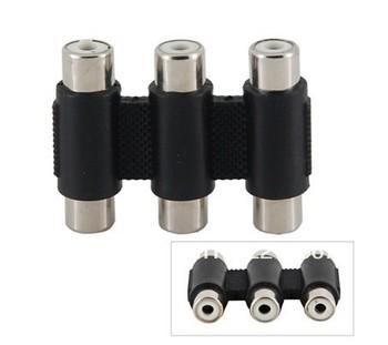 3-port RC-FFFF AV TV Audio Video Splitter Adapter (Black)