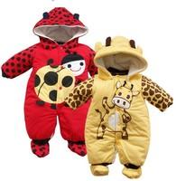 BR003,animal style cotton-padded baby romper unisex Ladybug & cows Modeling warm bodysuit Winter infant clothing free shipping